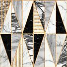 Marble Triangles - Black and White by Zoltan Ratko