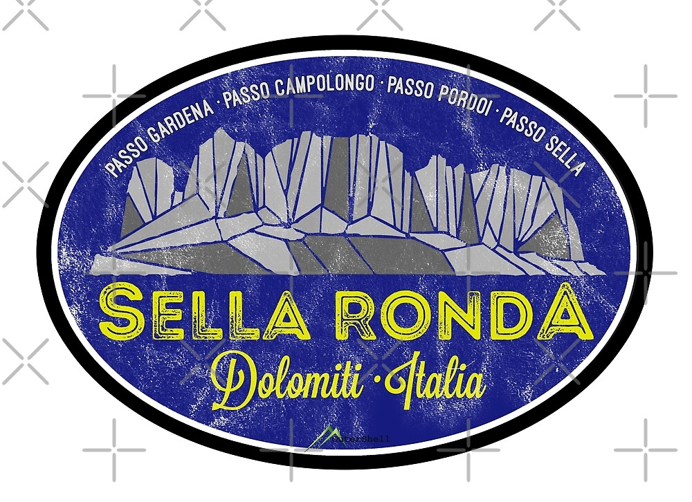 Sella Ronda Dolomites Italy Sticker T-Shirt 02 by OuterShellUK