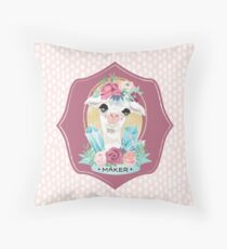 Dotty Alpaca Maker for knitters, crocheters, all crafters Throw Pillow