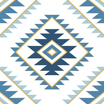 Aztec Style Motif Pattern Blues White Gold by NataliePaskell