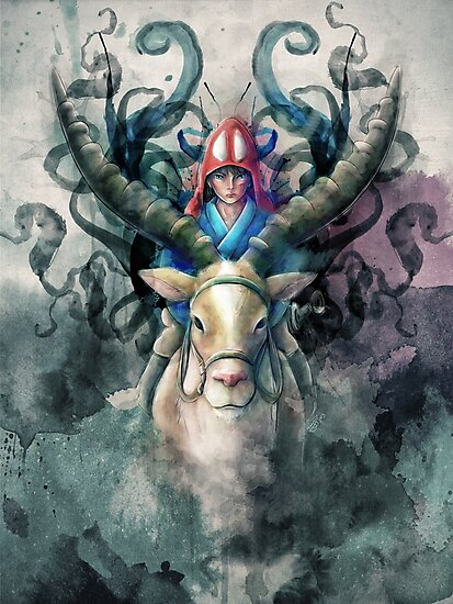 Ashitaka Demon Mononoke Digital Painting by barrettbiggers