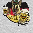 Oktoberfest German Beer Hound Dog by MudgeStudios