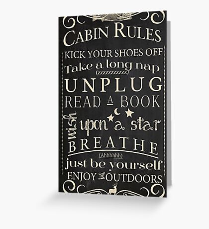 Cabin Rules II Greeting Card
