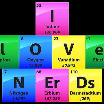 I Love Nerds Periodic Table Of Elements - Chemistry Quotes Gift by yeoys