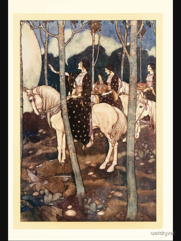 Stories from the Arabian Nights - 1911 - Edmund Dulac - 0123 - The Story of the Princess of Deryabar - Maidens on White Horses by wetdryvac