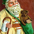 Vintage Santa Holiday oil painting by LindaAppleArt
