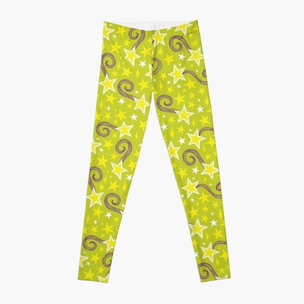 bright green star pattern Leggings