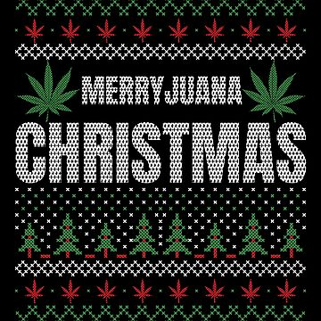 Merryjuana Christmas Red and Green Funny Marijuana Ugly Sweater CBD Oil by stockwell315