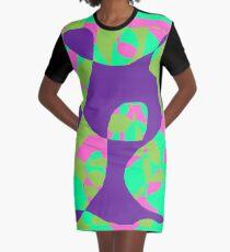 abstract art,pink,green,violet,greenish blue Graphic T-Shirt Dress