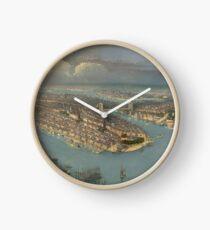 Reloj Mapa pictórico vintage de la ciudad de Nueva York (1880)