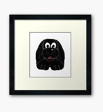 Children's Black Fuzzy Puppy Dog Framed Print