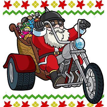 Santa Motorcycle Biker Ugly Christmas by frittata
