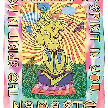 Namaste Spiritual Yoga Dog by MudgeStudios