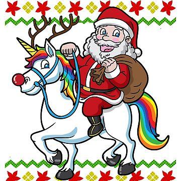 Santa Riding Unicorn Ugly Christmas by frittata