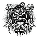 Halloween T-shirt design with pumpkin and skull by features2018