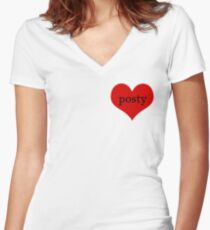 Posty love Women's Fitted V-Neck T-Shirt