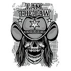 cowboy coat of arms with skull, grunge vintage design t shirts by features2018