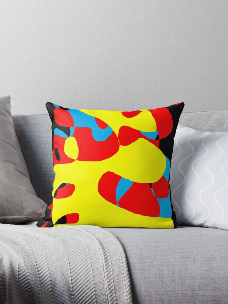 Abstract Artwork Black Blue Yellow Red Graphic Design Throw Pillow By Tchair70