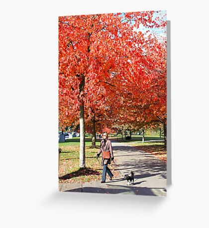 Walking the Dog in a Park, Vancouver City, Canada  Greeting Card