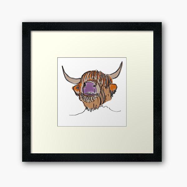 Highland cow oneliner  Framed Art Print
