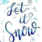 Let it Snow, Winter Print, Christmas Decor, Christmas Art Print, Christmas Wall Decor by MathisDesigns