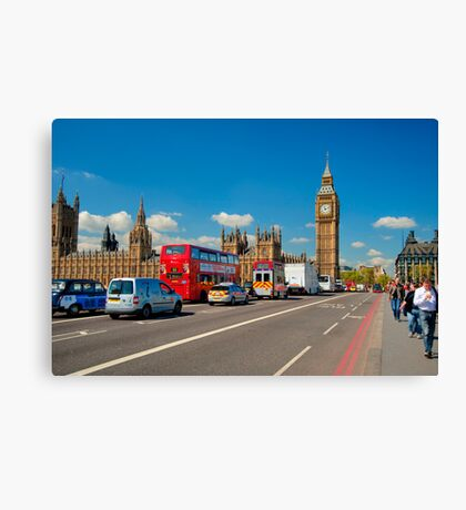 Westminster Bridge: Showing Big Ben Canvas Print