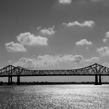 Bridge over water in black and white by franceslewis
