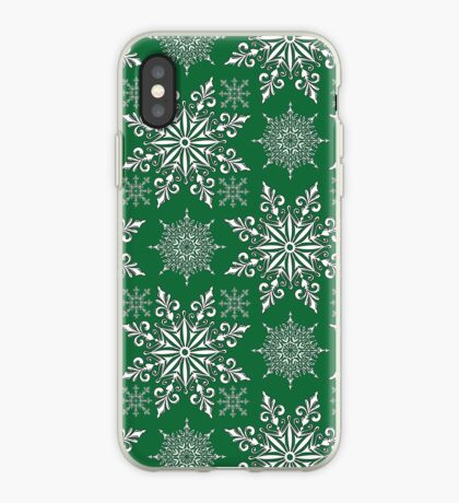 Holiday Snowflake Pattern #1 on Green Background iPhone Case