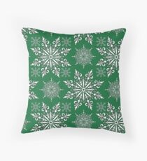 Holiday Snowflake Pattern #1 on Green Background Throw Pillow