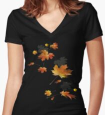 Autumn Leaves T Shirt & accessories Spiral of Fall Colors Women's Fitted V-Neck T-Shirt