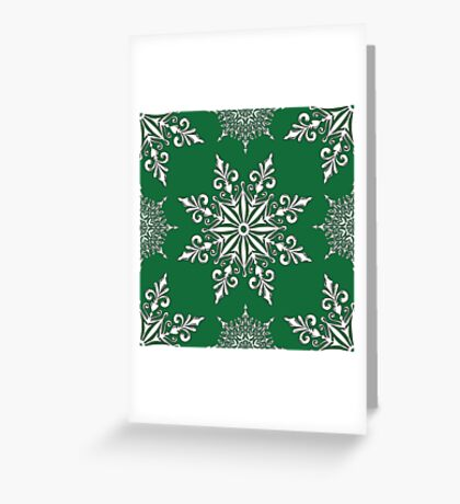 Holiday Snowflake Pattern #2 on Green Background Greeting Card