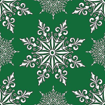 Holiday Snowflake Pattern #2 on Green Background by LaRoach
