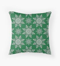 Holiday Snowflake Pattern #2 on Green Background Throw Pillow
