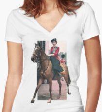 Elizabeth II's horse Women's Fitted V-Neck T-Shirt