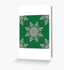 Holiday Snowflake Pattern #3 on Green Background Greeting Card