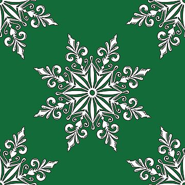 Holiday Snowflake Pattern #3 on Green Background by LaRoach