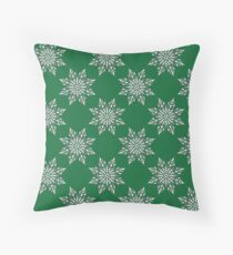 Holiday Snowflake Pattern #3 on Green Background Throw Pillow