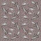 Cormorants pattern - greytones and white bird background by Sally Barnett