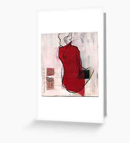 woman seaten Greeting Card