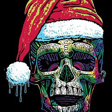 Xmas Skull With Santa Hat by MudgeStudios