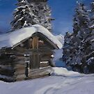 Winter Cabin in the Mountains by SarahannGraham