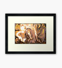 Molten metal on a wooden table Framed Print