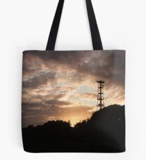Mobile signal tower at sunset Tote Bag