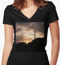 Mobile signal tower at sunset Women's Fitted V-Neck T-Shirt