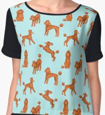 Red Poodles Pattern (Light Blue Background) Chiffon Top