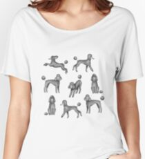 Grey Poodles Pattern (Pink Background) Women's Relaxed Fit T-Shirt
