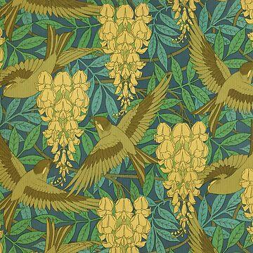 vintage,art nouveau,pattern,rustic,bird,floral by love999