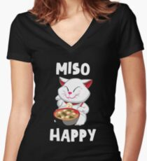 'Miso Happy' Funny Japanese Cat Miso  Women's Fitted V-Neck T-Shirt