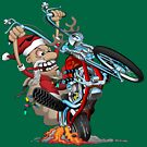 Biker Santa on a chopper cartoon illustration by hobrath
