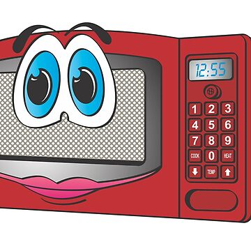 Red Female Microwave Cartoon by Graphxpro